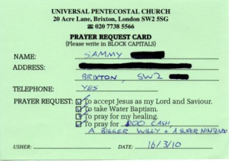 Sammy's prayer-card