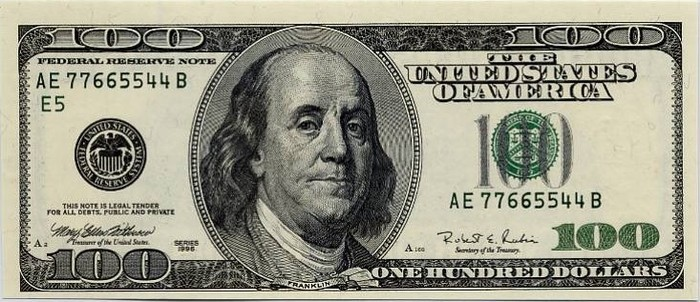 $100 dollar bill. About £64-ish in one note! 100_dollar_bill